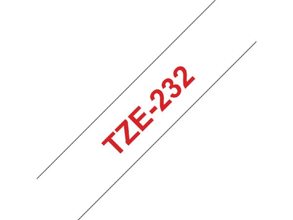Labeltape Brother P-touch TZE-232 12mm rood op wit