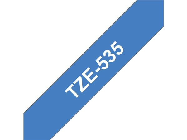 Labeltape Brother P-touch TZE-535 12mm wit op blauw