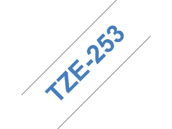 Labeltape Brother P-touch TZE-253 24mm blauw op wit