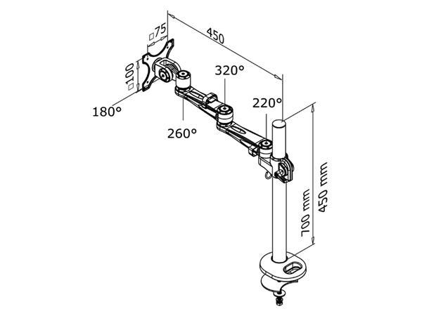 "Monitorarm Newstar D935G 10-30"" op voet zilvergrijs"