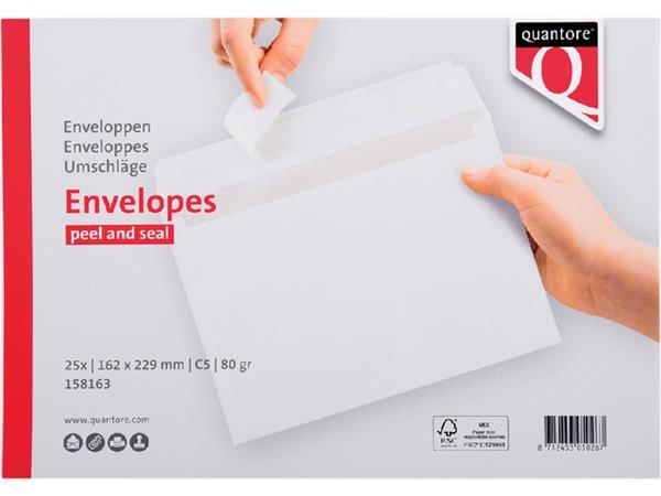 Envelop Quantore bank C5 162x229mm zelfklevend wit 25stuks