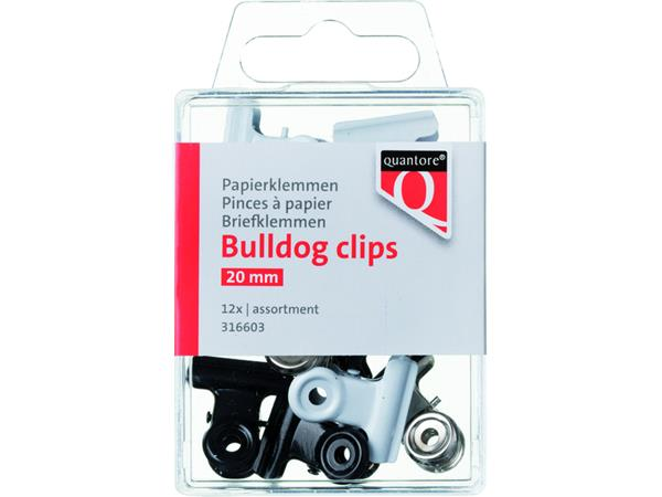 PAPIERKLEM BULLDOG QUANTORE 20MM ASSORTI