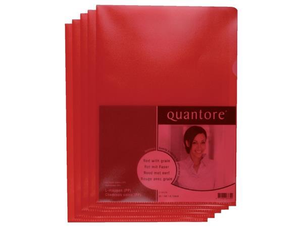 Insteekmap L-model Quantore A4 PP 0.12mm rood 25 stuks