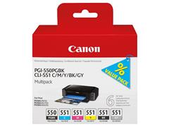 PGI550+CLI551 CANON IP7250 INK (6) 6496B005 pgblk-cmyk-gry blister w/o sec