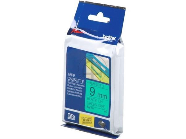 TZE721 BROTHER PTOUCH 9mm GREEN-BLACK tape 8m laminated