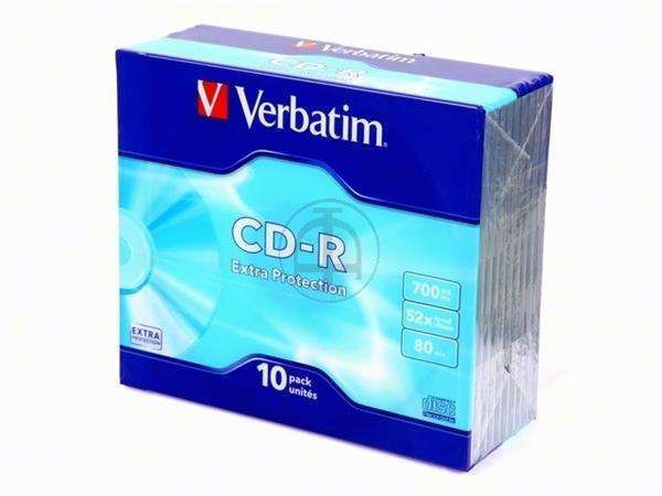 VERBATIM CDR80 700MB 52x (10) SC 43415 slim case e