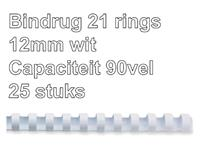 BINDRUG FELLOWES 12MM 21RINGS A4 WIT