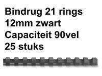 BINDRUG FELLOWES 12MM 21RINGS A4 ZWART