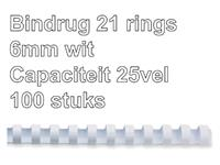 BINDRUG FELLOWES 6MM 21RINGS A4 WIT