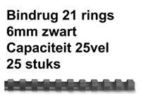 BINDRUG FELLOWES 6MM 21RINGS A4 ZWART