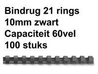 BINDRUG GBC 10MM 21RINGS A4 ZWART