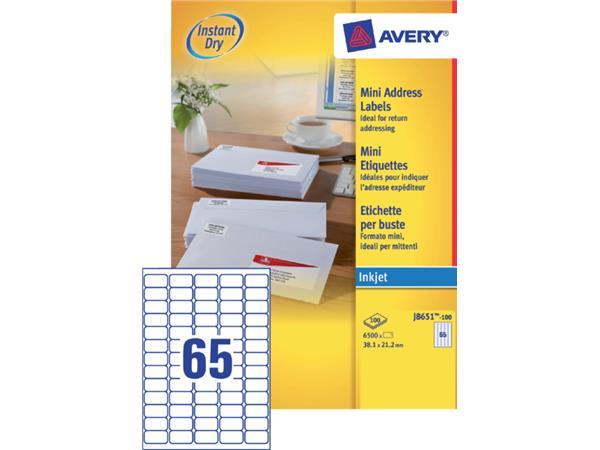 ETIKET AVERY J8651-100 38.1X21.2MM 6500ST