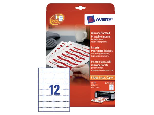 BADGE INSTEEKKAART AVERY L4726-20 40X75MM 240ST PE