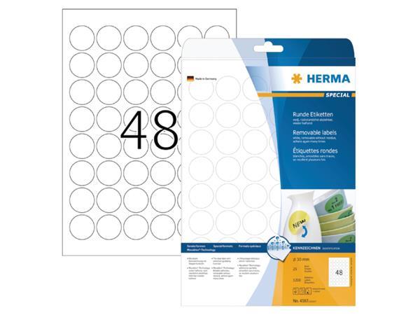 ETIKET HERMA 4387 ROND 30MM 1200ST