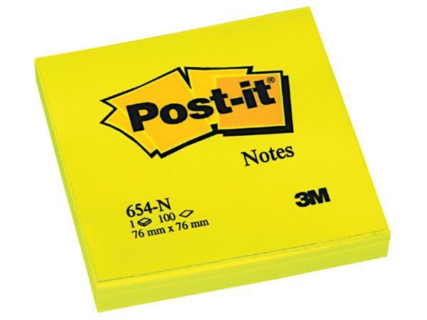 MEMOBLOK 3M POST-IT 654N 76X76MM NEON GEEL