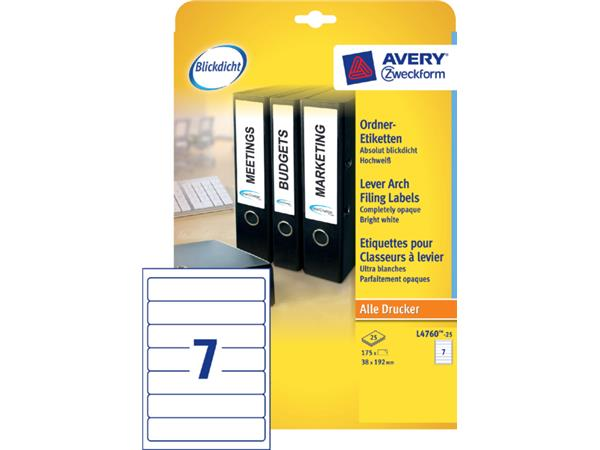 RUGETIKET AVERY ZWECK L4760-25 192X38MM 175ST