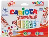 Carioca stempelstift Stamperello, 12 stiften (= 12 kleuren en 12 stempelmotieven)
