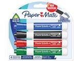 Paper Mate whiteboardmarker met ronde punt, blister van 4 stuks, geassorteerde kleuren