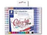 Staedtler kalligrafiepen Calligraph duo, doos van 12 stuks in geassorteerde kleuren