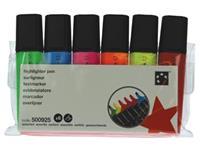 5 Star markeerstift, etui van 6 stuks: oranje, groen, roze, geel, blauw en rood