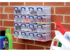 Really Useful Box muurkubus met 16 opbergdozen van 0,3 liter, transparant