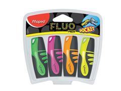 Maped Markeerstift Fluo'Peps Pocket Soft etui van 4 stuks