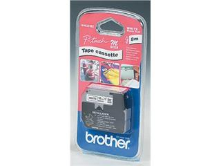 Brother M tape voor P-Touch 12 mm, gelamineerd, zwart op wit
