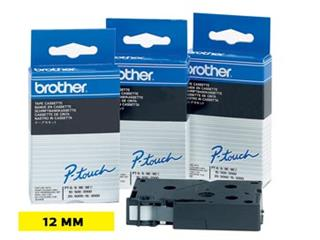 Brother TC tape voor P-Touch 12 mm, zwart op geel