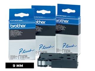 Brother TC tape voor P-Touch 9 mm, zwart op wit