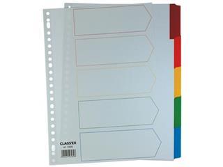 Class'ex tabbladen wit, 23-gaatsperforatie, 5 gekleurde tabs