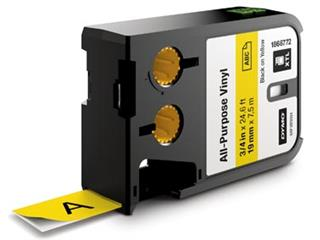 Dymo XTL tape ft 19 mm, zwart op geel, vinyl