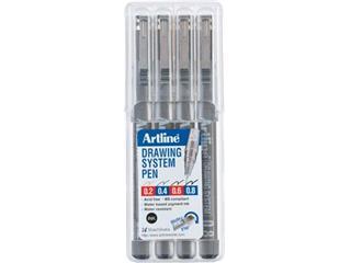 Fineliner Drawing System etui van 4 stuks: 0,2 - 0,4 - 0,6 en 0,8 mm