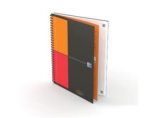 Oxford INTERNATIONAL notebook connect, stevige kartonnen kaft grijs, 160 bladzijden, ft B5, geruit 5 mm