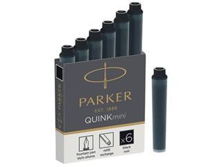 Parker Quink Mini inktpatronen zwart, doos met 6 stuks