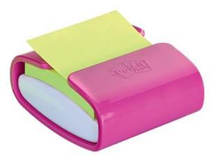 Post-it Z-Notes dispenser Pro Color roze, voor ft 76 x 76 mm, blok van 90 vel, neon groen
