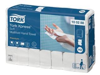 Tork papieren handdoeken Xpress, Soft, 2-laags, 110 vellen, systeem H2, pak van 21 stuks