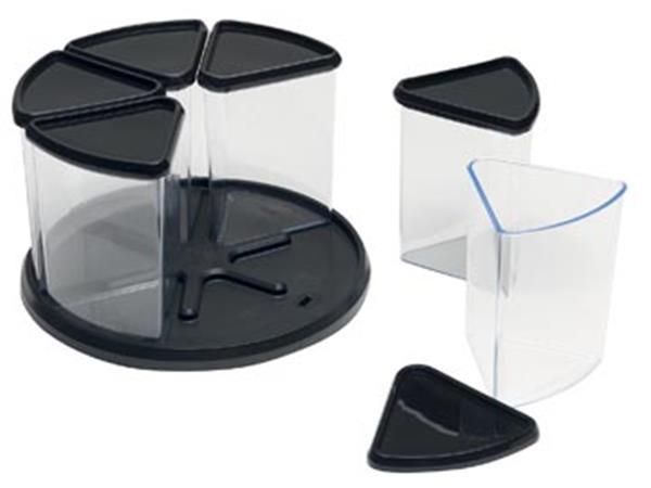 Deflecto carousel organiser met 6 compartimenten, zwart