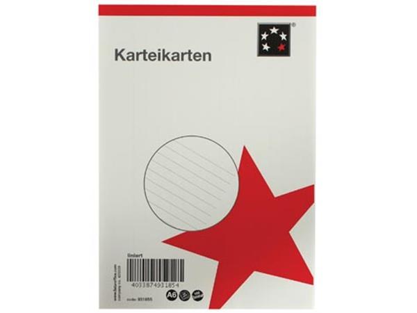 5 Star witte systeemkaarten ft A6. gelijnd. 100 st