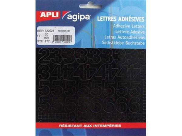 Agipa etiketten cijfers en letters letterhoogte 20 mm, 177 cijfers
