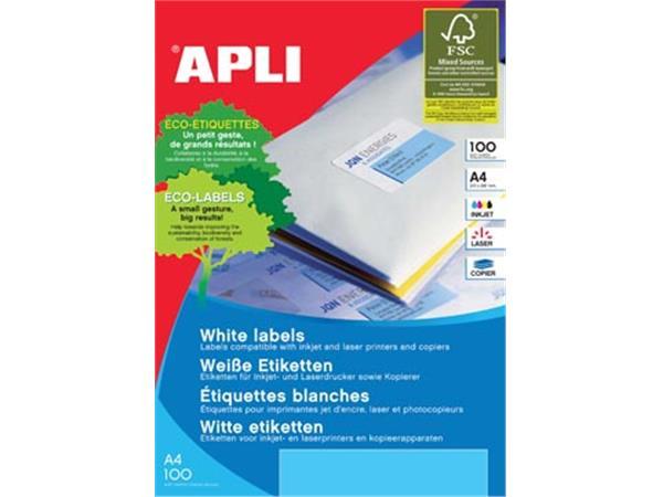 Apli Witte etiketten ft 99,1 x 67,7 mm (b x h), 800 stuks, 8 per blad (2420)