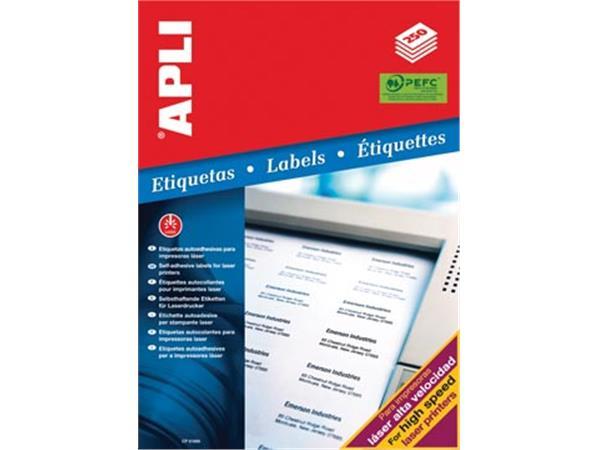 Apli witte etiketten ft 210 x 297 mm (b x h), 250 stuks, 1 per blad (2530)