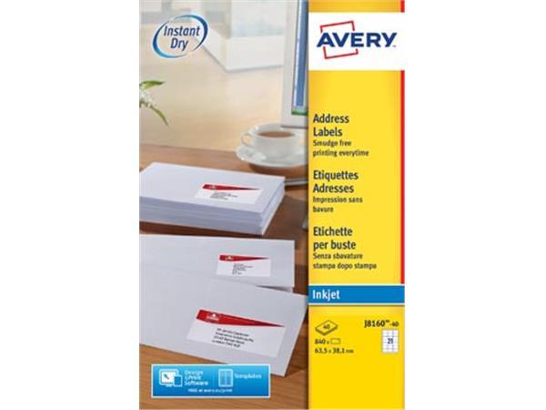 Avery J8160-40 adresetiketten ft 63,5 x 38,1 mm (b x h), 840 etiketten, wit