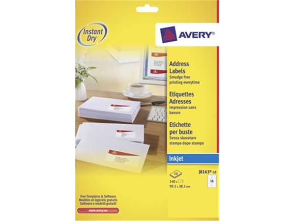 Avery J8163-10 adresetiketten ft 99,1 x 38,1 mm (b x h), 140 etiketten wit