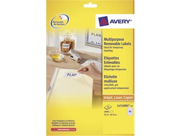 Avery L4732REV-25 afneembare etiketten ft 35.6 x 1