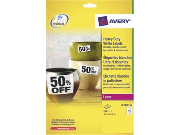 Avery L4778-20 ultra-sterke etiketten ft 45.7 x 21