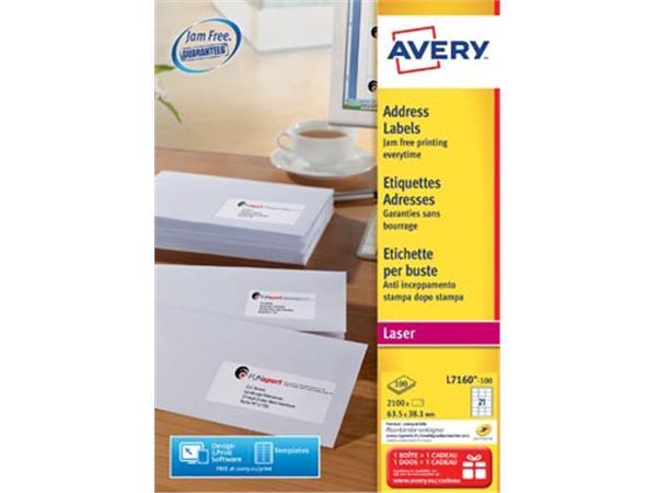 Avery L7160. Adresetiketten. Laser. Ultragrip. wit