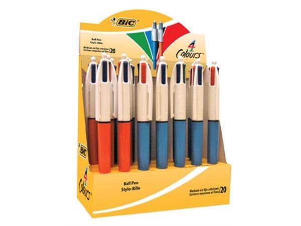 Bic balpen 4 Colours medium en fijn. doos met 20 s