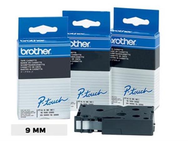 Brother TC tape voor P-Touch 9 mm, wit op zwart