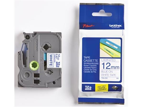 Brother TZe tape voor P-Touch 12 mm. blauw op wit