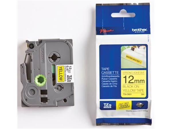 Brother TZe tape voor P-Touch 12 mm. zwart op geel